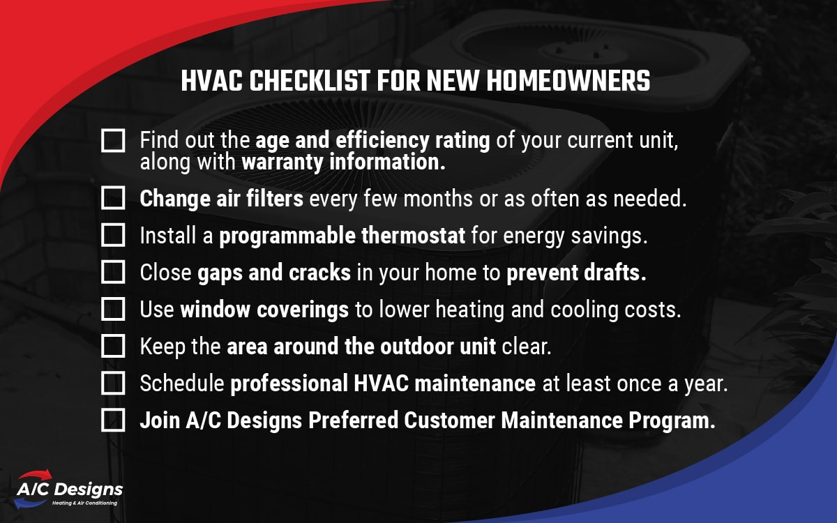 HVAC checklist for new homeowners