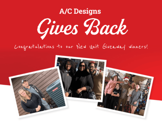 A/C Designs give back. Image of 3 families.