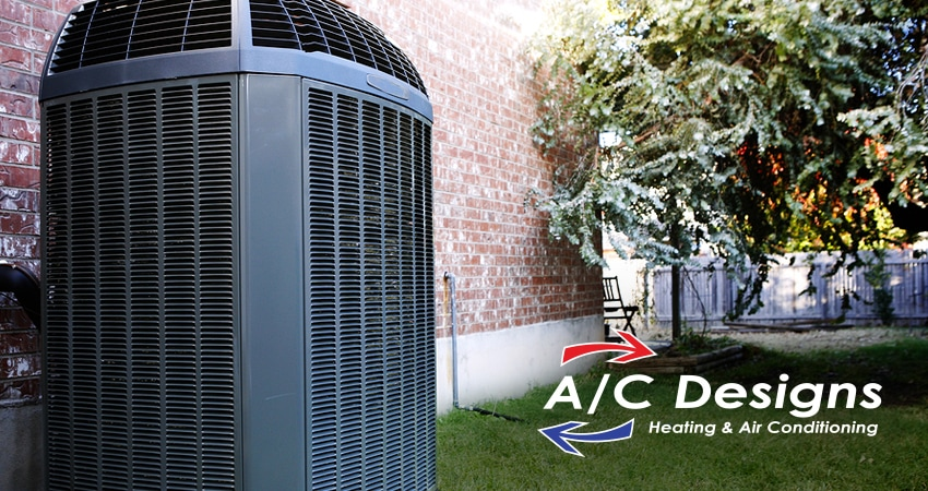 An A/C unit with the A/C designs heating and air conditioning unit logo