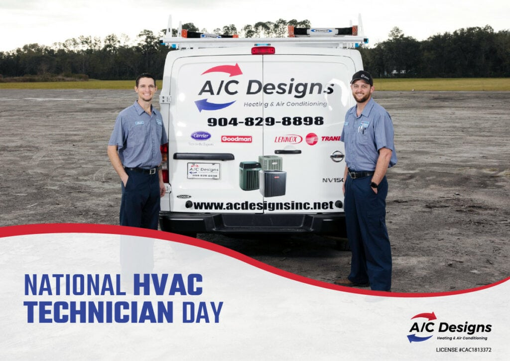 """two a/c designs HVAC techs stand next to a truck. text reads """"National HVAC Technician Day"""""""