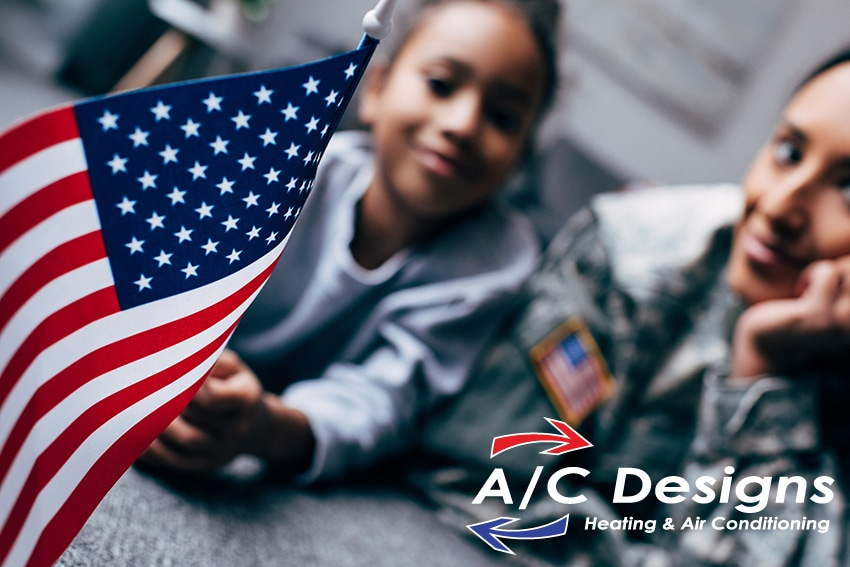 American troops and flag graphic